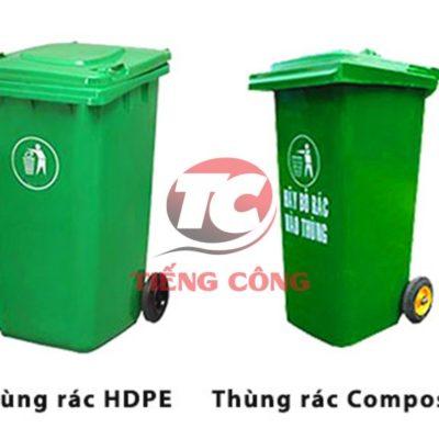 Thùng rác composite 120L đạp chân