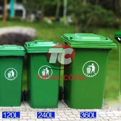 Thùng rác composite 660 lít bánh đặc mâm sắt