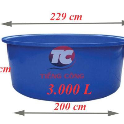 Thùng Nhựa Tròn Dung Tích Lớn 3000L Dệt Nhuộm Vải