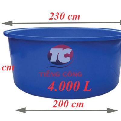 Thùng Nhựa Tròn Dung Tích Lớn 4000L