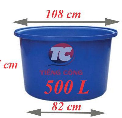 Thùng Nhựa Tròn Dung Tích Lớn 500L Dệt Nhuộm Vải